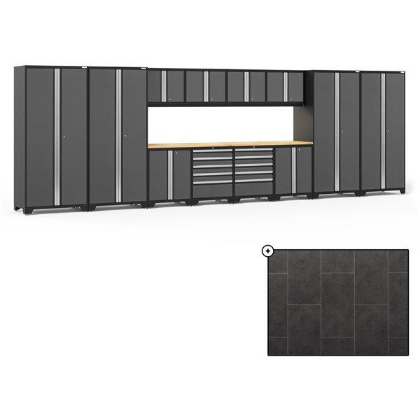 Ensemble d'armoires en acier Série Pro de NewAge, 256 po x 84,75 po, 800 pi², surface en bambou, gris anthracite, 14 mcx