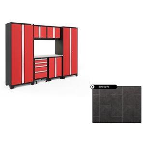 Ensemble d'armoires en acier Série Bold de NewAge, 108 po x 76,75 po, 600 pi², surface en acier inoxydable, rouge foncé, 7 mc