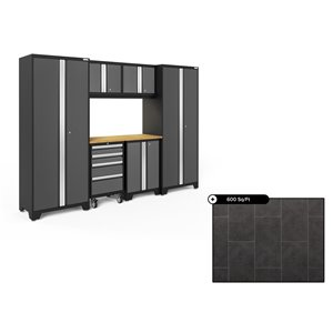 NewAge Bold Series 108-in x 76.75-in Charcoal Gray Steel Cabinet Set - Bamboo Work Surface - 600-sq. ft. - 7-Piece
