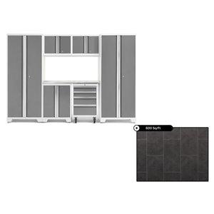 Ensemble d'armoires en acier Série Bold de NewAge, 108 po x 76,75 po, 600 pi², surface en acier inoxydable, platine, 7 mcx