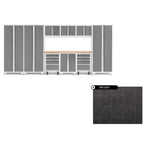 Ensemble d'armoires en acier Série Bold de NewAge, 162 po x 76,75 po, 600 pi², surface en bambou, platine, 10 mcx