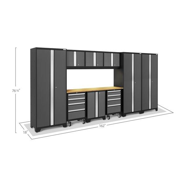 Ensemble d'armoires en acier Série Bold de NewAge, 162 po x 76,75 po, 600 pi², surface en acier inoxydable, gris, 10 mcx