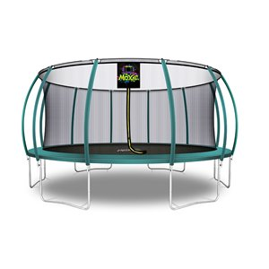 Moxie Round Outdoor Backyard Trampoline Set with Enclosure - 16.53-ft - Green