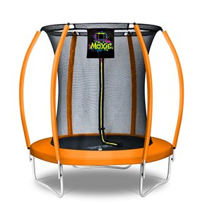 Moxie Round Outdoor Backyard Trampoline Set with Enclosure - 6.53-ft - Orange
