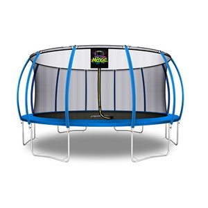 Moxie Round Outdoor Backyard Trampoline Set with Enclosure - 16.53-ft - Blue