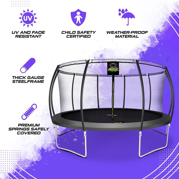 Moxie Round Outdoor Backyard Trampoline Set with Enclosure - 15.5-ft - Black