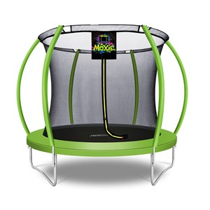 Moxie Round Outdoor Backyard Trampoline Set with Enclosure - 8.53-ft - Green