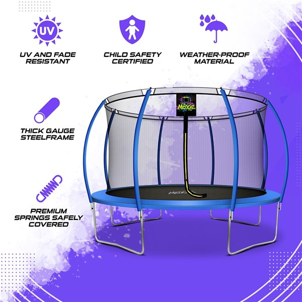 Moxie Round Outdoor Backyard Trampoline Set with Enclosure - 12.53-ft - Blue