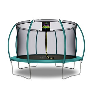 Moxie Round Outdoor Backyard Trampoline Set with Enclosure - 14.46-ft - Green