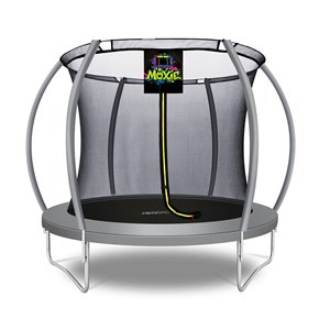 Moxie Round Outdoor Backyard Trampoline Set with Enclosure - 8.53-ft - Grey