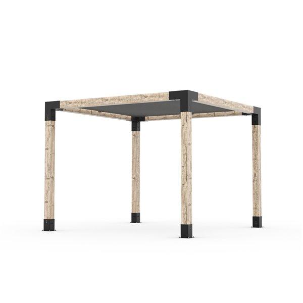 Trousse de pergola Toja Grid avec voile d'ombrage pour pôteau de bois 6x6, 10 pi x 10 pi, autoportant