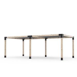 Trousse de pergola double Toja Grid avec 2 voiles d'ombrage pour pôteau de bois 6x6, 12 pi x 24 pi, autoportant