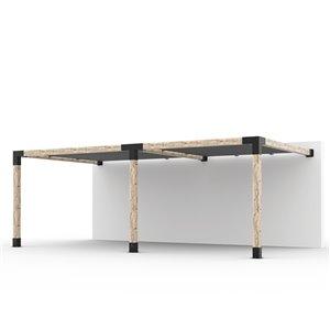 Trousse de pergola double Toja Grid avec 2 voiles d'ombrage pour pôteau de bois 6x6, 12 pi x 22 pi, autoportant