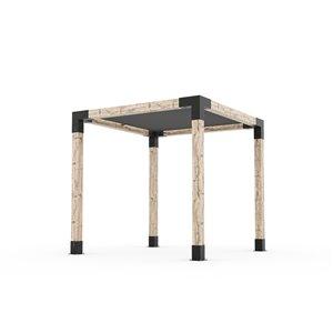 Trousse de pergola Toja Grid avec voile d'ombrage pour pôteau de bois 6x6, 8 pi x 8 pi, autoportant