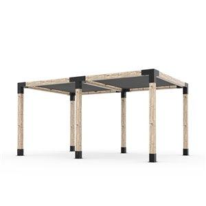 Trousse de pergola double Toja Grid avec 2 voiles d'ombrage pour pôteau de bois 6x6, 10 pi x 16 pi, autoportant
