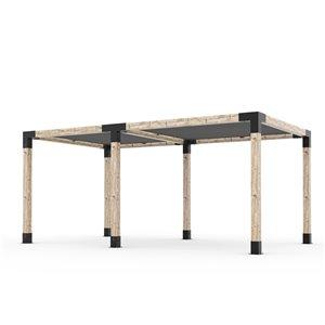 Trousse de pergola double Toja Grid avec 2 voiles d'ombrage pour pôteau de bois 6x6, 10 pi x 18 pi, autoportant