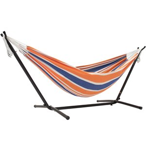 Vivere Double Brazilian Hammock with Steel Stand - Orange/Blue