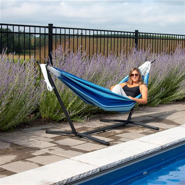 Vivere Double Brazilian Hammock with Steel Stand - Blue