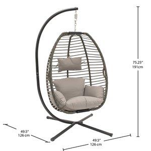 Chaise hamac Nest Vivere avec support, beige