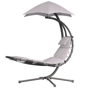 Vivere Original Dream Lounge Chair with Cushion and Umbrella - Light Grey