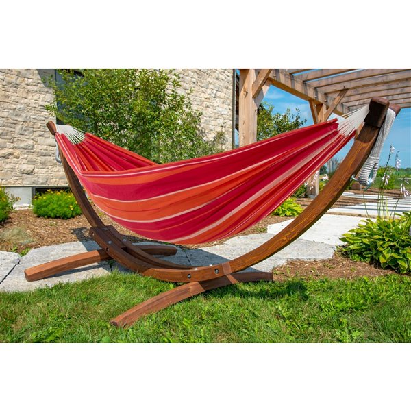 Vivere Double Brazilian Hammock with Pine Wood Stand - Red