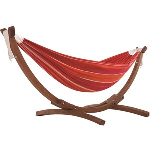 Hamac Double Brazilian de Vivere avec support en pin, rouge