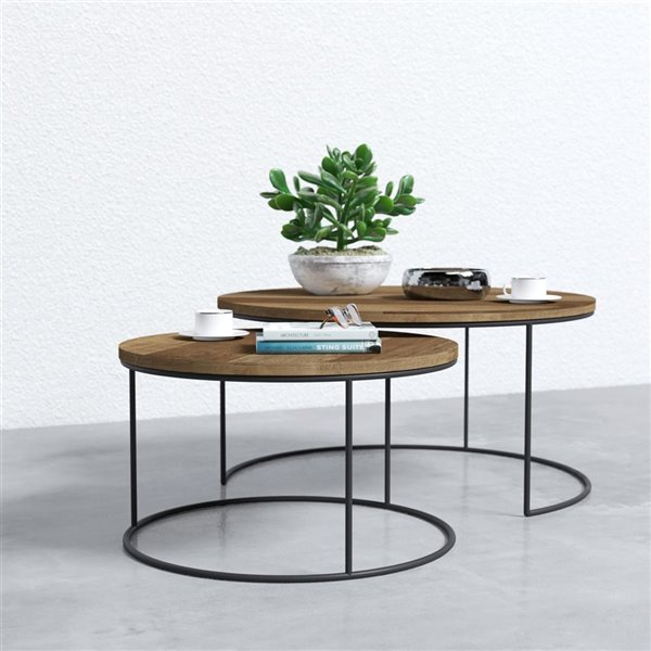 Urban Woodcraft Round Nesting Coffee, Nesting Coffee Tables Round