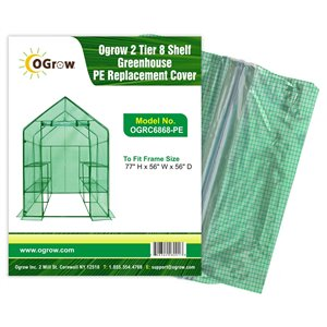 Ogrow 2-Tier 8-Shelf Greenhouse PE Replacement Cover - 56-in x 77-in - Green