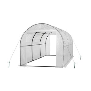 Ogrow Two-Door Walk-In Steel Frame Tunnel Greenhouse - with Ventilation Windows – 15-ft x 6-ft - White