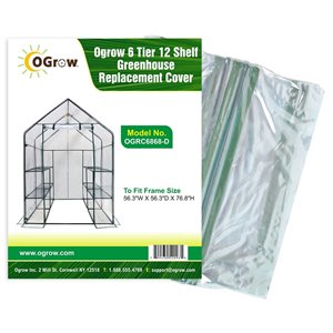Ogrow 6-Tier 12-Shelf Greenhouse Replacement Cover - 56.3-in x 76.8-in - Clear