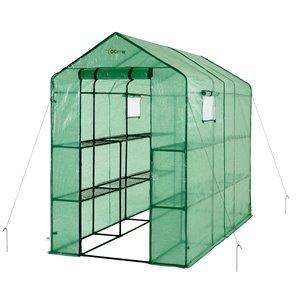 Ogrow Heavy-Duty Walk-In 2-Tier 12-Shelf Lawn and Garden Greenhouse – 8-ft x 4-ft - Green