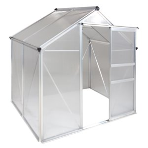 Ogrow Aluminum Walk-In Greenhouse – with Sliding Door and Adjustable Roof Vent - 6-ft x 4-ft - Clear