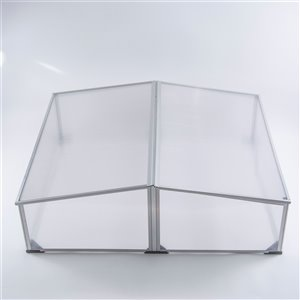 Ogrow Easy-To-Assemble Aluminum Cold Frame Greenhouse - 3.25-ft x 3.25-ft - Clear