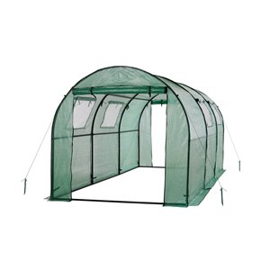 Ogrow Two-Door Walk-In Steel Frame Tunnel Greenhouse - with Ventilation Windows – 15-ft x 6-ft – Green