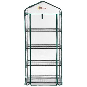 Ogrow Ultra-Deluxe 4-Tier Portable Greenhouse – 1.5-ft x 2.25-ft - Clear