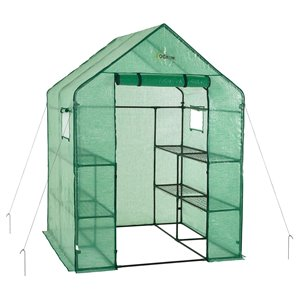 Ogrow Deluxe Walk-In 2-Tier 8-Shelf Portable Lawn and Garden Greenhouse – 4.75-ft x 4.75-ft - Green
