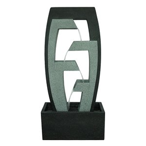 Henryka Outdoor Fountain - with LED Light - Concrete - 40-in - Black