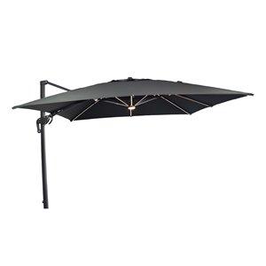 Parasol en porte-à-faux Henryka, avec lumières, 10 pi, noir