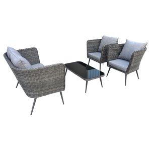 Henryka 4-Piece Conversation Set - PVC Wicker - Grey