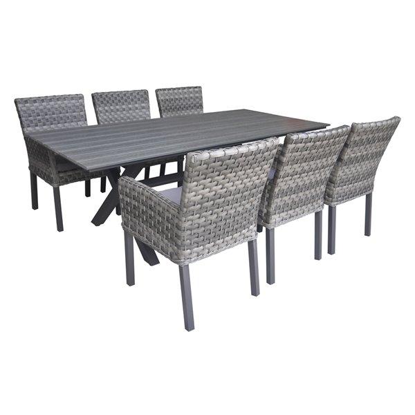 Henryka 7 Piece Patio Dining Set, Grey Wicker Outdoor Furniture Sets