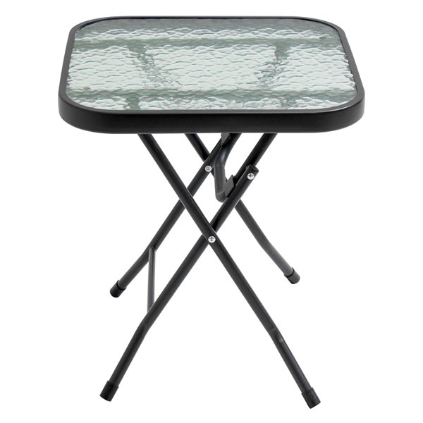 Henryka Foldable Bistro Table Square Steel And Tempered Glass Black Dxf 3240 Rona