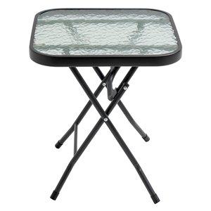 Table de patio Henryka, rectangulaire, en acier et verre trempé, noir
