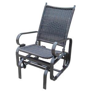 Chaise berçante Henryka, en acier et en osier, brun foncé