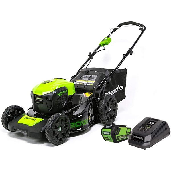 Greenworks Cordless and Brushless Push Lawn Mower - 40-Volt - 20-in - 1 Lithium-Ion Battery 2523602CA