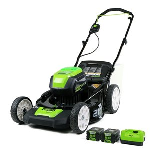 Tondeuse sans fil et sans balais Greenworks Pro, 80 volts, 21 po, 2 batteries lithium-ion incluses