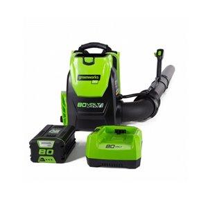 Souffleur à feuilles sac à dos Greenworks avec batterie et chargeur, 80 volts, 580 pcm, 145 mi/h