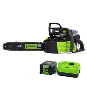 Greenworks Pro Cordless Chainsaw - 80-Volt - 18-in Bar Length - 1-Battery