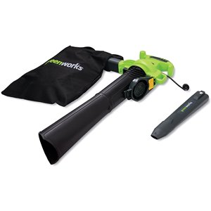 Greenworks Variable Speed Corded Blower/Vacuum Kit - 12-Amp - 235-MPH