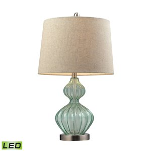 Elk Home Smoked Glass Table Lamp - Pale Green