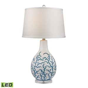 Elk Home Sixpenny Blue Coral Table Lamp in White - LED